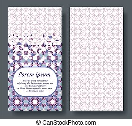 Islamic card for invitation, celebration, save the date, wedding performed in islamic geometric tile. Colofrul vector template of card.