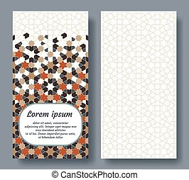 Islamic card design for invitation, celebration, save the date, wedding performed in islamic geometric tile. Colofrul vector template of card.