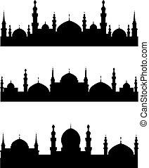 Islamic city silhouettes for design. Vector illustration