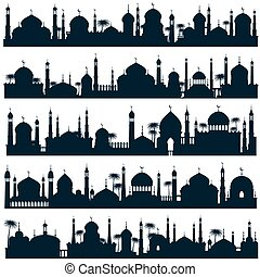 Islamic city skylines with mosque and minaret vector...