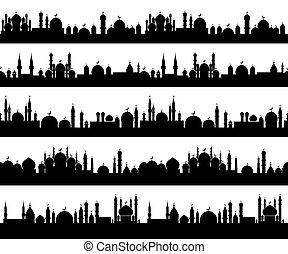 Islamic cityscape silhouettes