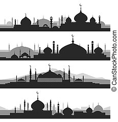 Islamic cityscape with mosque silhouettes