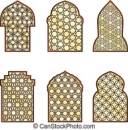 Islamic classical windows and doors with arabic ornament. Vector pattern