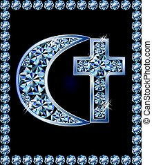 Islamic crescent and christian cross symbols, vector illustration