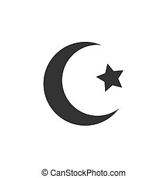 Islamic crescent icon. Vector illustration, flat design.