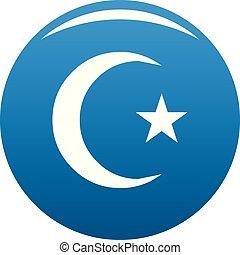 Islamic crescent moon icon blue vector