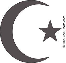 Islamic crescent moon icon vector simple