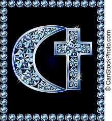 islamic, crescente, e, cristão, crucifixos, símbolos, vetorial, ilustração