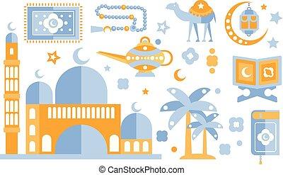 Islamic culture color icons set. Muslim attributes. Religion...