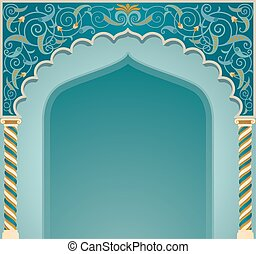 islamic, desenho, eps10, arco, formato
