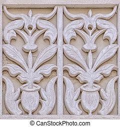 Islamic design cast on a building