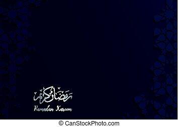 Islamic design greeting card template for Ramadan Kareem...