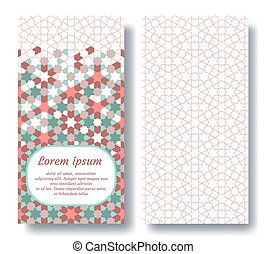 Islamic double card for invitation, celebration, save the date, wedding performed in arabian geometric tile. Colofrul vector template