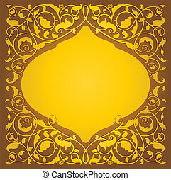 Islamic floral art in gold version - Islamic floral art...