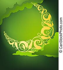 islamic floral cresent moon - Vector illustration of islamic...