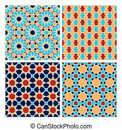 Islamic geometry pattern - Set of Islamic colorful oriental...