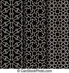 Islamic geometry pattern - Set of Islamic gold oriental...