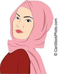 Islamic Girl Wearing Hijab Sharia Vector Illustration