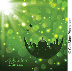 Islamic glow card for Ramadan Kareem