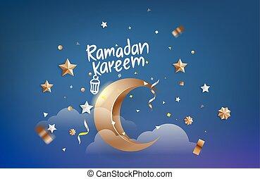 Islamic holiday greeting card. Ramadan Kareem