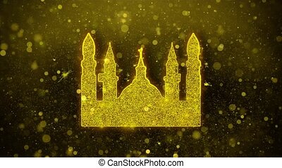 Islamic Icon, Mosque religious, muslim Icon Golden Glitter...