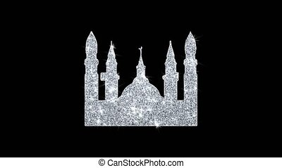 Islamic Icon, Mosque religious, muslim Icon Sparkling Shining White Blinking Particles Diamond Glitter Loop Light 4K Animation Alpha Channel.