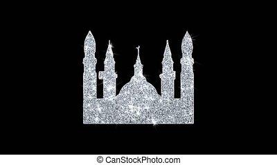 Islamic Icon, Mosque religious, muslim Icon Shining Glitter...