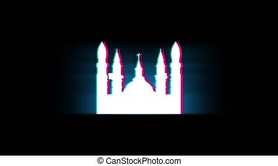 Islamic Icon, Mosque religious, muslim Symbol on Glitch Led Screen Retro Vintage Display Animation 4K Animation Seamless Loop Alpha Channel.