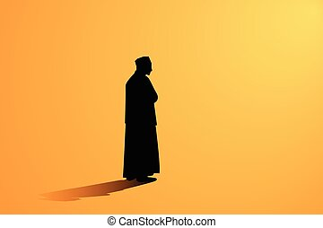 Islamic man praying Muslim Prayer