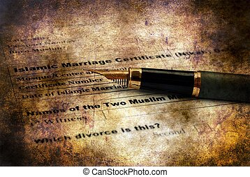 Islamic marriage certificate grunge concept