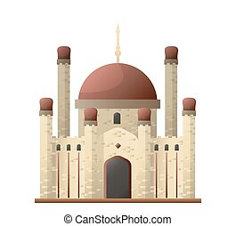 Islamic mosque ancient castle with round roofs and attribute