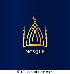 Islamic mosque linear silhouette. Cresent on dome, Islam symbol. Religion vector icon, logo template on dark blue background