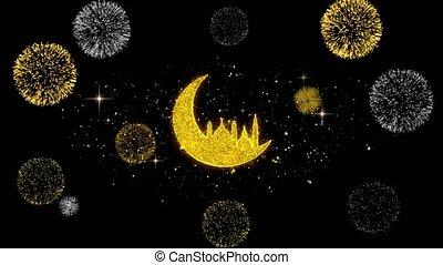 Islamic mosque Moon ramadan Icon on Glitter Golden Particles...