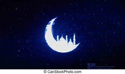 Islamic mosque Moon ramadan Symbol Digital Pixel Noise Error Animation.