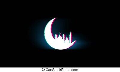 Islamic mosque Moon ramadan Symbol on Glitch Retro Vintage...