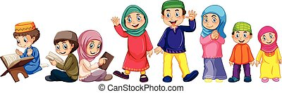 Islamic - Muslim grown up and children doing things
