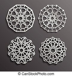 Islamic ornament vector , persian motiff . 3d ramadan round...