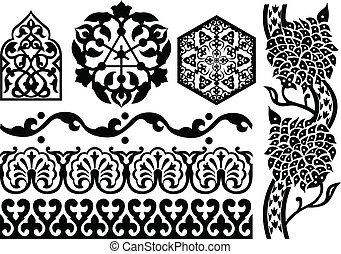 Islamic ornaments on white