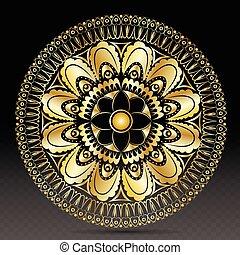 islamic, ouro, ligado, escuro, mandala, redondo, ornamento