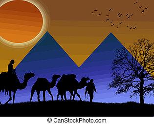 islamic, pôr do sol, fundo