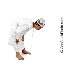 Islamic pray. Arabic child showing complete Muslim movements while praying, salat. Please look for another 15 photos in my portfolio.