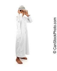 Islamic pray explanation full serie. Arabic child showing...