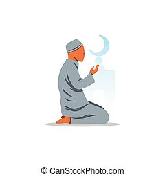 Islamic Prayer on his knees turned to God. Vector Illustration.