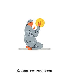 Islamic Prayer on his knees turned to God. Vector Illustration.
