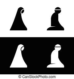 Islamic Prayer Room Area Sign Symbol Logo Icon Vector...