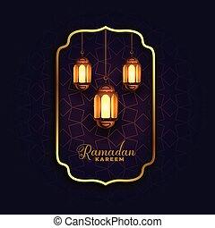 islamic ramadan kareem background with lamps