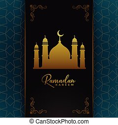 islamic ramadan kareem card design with golden mosque
