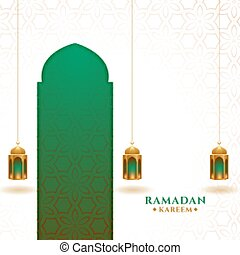 islamic ramadan kareem festival card design with lanterns