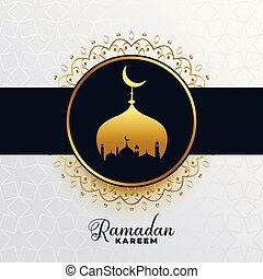 islamic ramadan kareem golden mosque background
