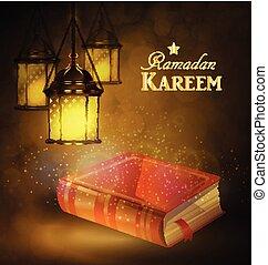 Islamic religious bookand lantern - Islamic religious book...